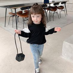 Ruban - Kids Long-Sleeve Cold-Shoulder Lace Trim Top
