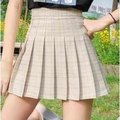 Carina - Plaid Pleated Mini Skirt