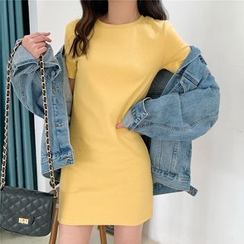 Moon City - Plain Short-Sleeve T-Shirt Dress