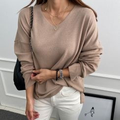 DANI LOVE - V-Neck Colored Knit Top