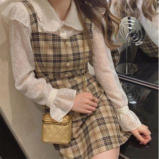 Apotheosis - Set: Bell Sleeve Frill Trim Lace Shirt + Plaid Mini Overall Dress