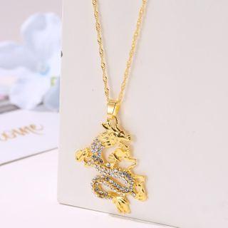 Cheermo - Rhinestone Dragon Pendant Necklace