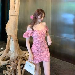 westworlds - Cap-Sleeve Floral Print Mini Dress