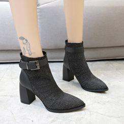 Artiz - Block-Heel Buckled Sock Ankle Boots