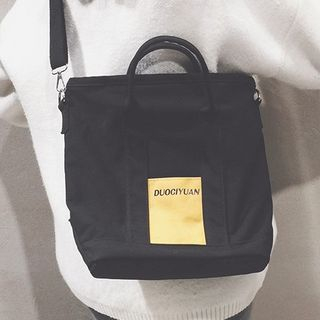 OUCHA - Lettering Canvas Tote Bag With Shoulder Strap