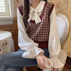 Cotre(コトル) - Tie-Neck Blouse / Patterned Knit Vest