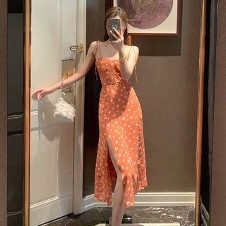 12th Tone - Spaghetti-Strap Floral Print Slit Midi A-Line Dress