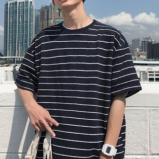 CooLook - Elbow-Sleeve Striped T-Shirt