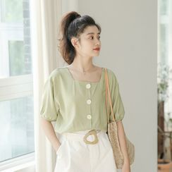 SOMUI - Puff-Sleeve Button-Up Blouse