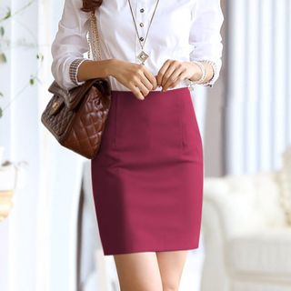 Peachton - High Waist Pencil Skirt