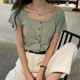 Shinsei - Square-Neck Short-Sleeve Buttoned Ribbed Top