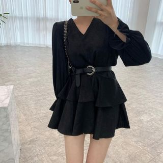 Kneta - Set: Long-Sleeve Mesh Mini Dress + Belt