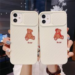 Witheart - Bear Print Phone Case with Lens Cover - iPhone 12 Pro Max / 12 Pro / 12 / 12 mini / 11 Pro Max / 11 Pro / 11 / SE / XS Max / XS / XR / X / SE 2 / 8 / 8 Plus / 7 / 7 Plus