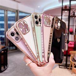 Surono - Heart Hand Strap Phone Case - iPhone 13 Pro Max / 13 Pro / 13 / 13 mini / 12 Pro Max / 12 Pro / 12 / 12 mini / 11 Pro Max / 11 Pro / 11 / SE / XS Max / XS / XR / X / SE 2 / 8 / 8 Plus / 7 / 7 Plus