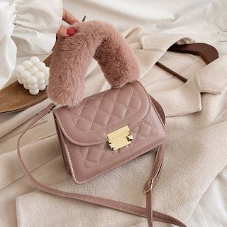 Shimme - Mini Fluffy Handle Quilted Flap Crossbody Bag