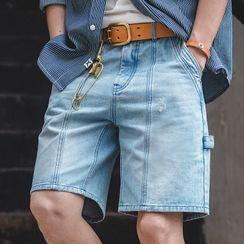 Maden - Washed Straight-Leg Denim Shorts