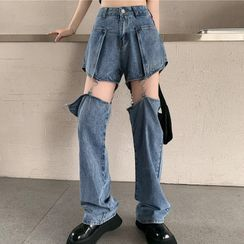 Magimomo - High-Waist Removable Straight-Cut Jeans