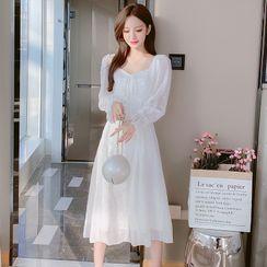 Petit Lace - Long-Sleeve Ruffled Lace Dress