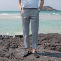 Seoul Homme - Glen-Plaid Straight-Cut Dress Pants