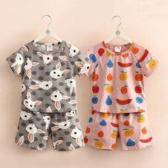 Seashells Kids - Kids Pajama Set: Printed T-Shirt + Shorts