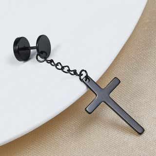 Prushia - Stainless Steel Cross Dangle Single Earring