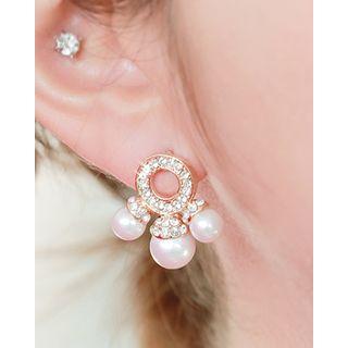 Miss21 Korea - Triple Faux-Pearl Earrings
