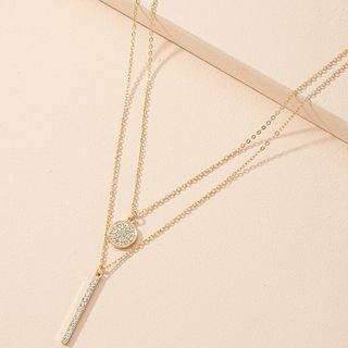 Irenna - Geometric Rhinestone Pendant Layered Necklace