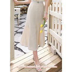 Styleonme - Seam-Trim Long Mermaid Skirt
