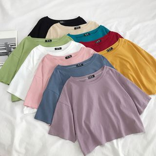 Wapiti - Elbow-Sleeve Plain Cropped T-Shirt