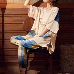 Sweetzer - Pajama Set: Lettering Short-Sleeve T-Shirt + Plaid Pants