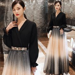 Sennyo - Elbow-Sleeve Sequined A-Line Mesh Evening Gown