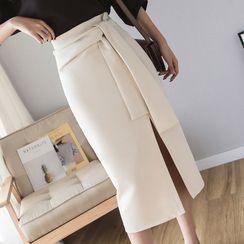 Emeraude - Slit Midi Straight-Fit Skirt
