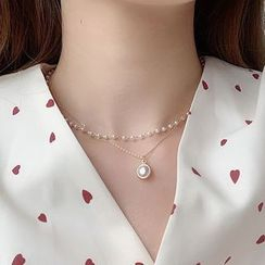 Cuivre - Faux Pearl Pendant Layered Necklace