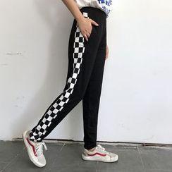 LINSI - 格子拼接運動褲