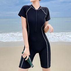 Nairobi - Short-Sleeve Contrast Trim Swimsuit