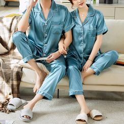 Voomer - Couple Matching Pajama Set: Short-Sleeve Top + Pants
