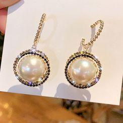 Catalunya - Faux Pearl Rhinestone Dangle Earring