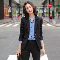 Skyheart - One-Button Blazer / Long-Sleeve Shirt / Dress Pants / Pencil Skirt