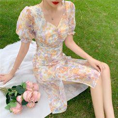 Morning Glory - Short-Sleeve Floral Print Midi Dress