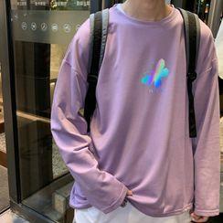 Obikan - 長袖反光印花針織上衣