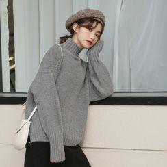 Lady Jean - Plain Semi High-Neck Sweater