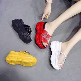 Sleeko - Buckled Clear Panel Wedge Platform Sandals