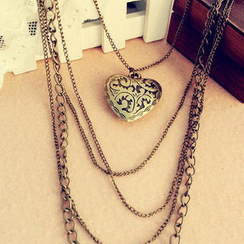 懒角落 - 爱心吊饰多链项链
