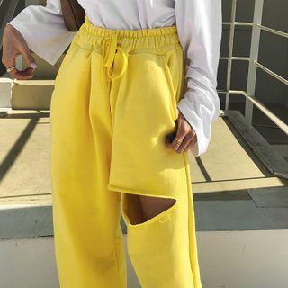 LIPHOP - Drawstring-Waist Cut-Out Wide-Leg Pants