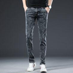 Denimic(デニミック) - Washed Straight-Leg Jeans