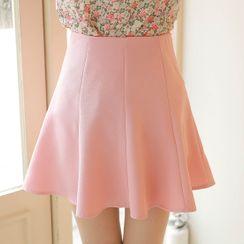 MyFiona - Seam-Trim Flared Miniskirt