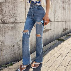 LIPHOP - Asymmetric-Waist Boot-Cut Jeans