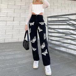 Honet - Butterfly Print Straight Leg Jeans