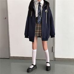 Ritsuko - Zip Hoodie / Long-Sleeve Tie-Neck Shirt / Pleated Skirt