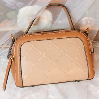 GU ZHI - Faux Leather Two-Tone Handbag
